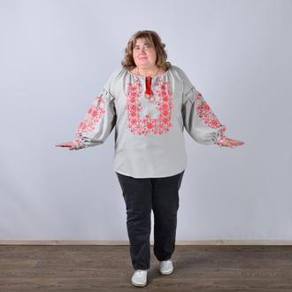 Вышиванка женская с длинным рукавом - реглан, вышивка - красные цветы, Оникс, цвет - серый.
