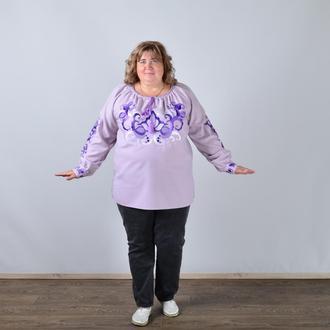 Вышиванка женская с длинным рукавом - реглан, вышивка - цветочный узор, Оникс, цвет - фиолетовый.