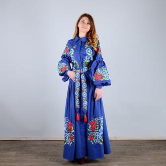 Плаття з рукавом реглан, з попліну, з вишивкою - петриківка, із застібкою на потайних гудзиках, колі