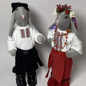 Интерьерные текстильные зайцы- украинцы
