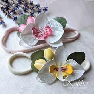 Повязка на голову орхидея и эвкалипт