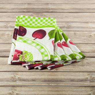 Полотенце для кухни - 100 % хлопок рогожка, размер 49*59.5 рисунок - вишня.