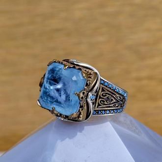 Женственный красивый и нежный перстень с большим голубым камнем турмалин изготовленный вручную