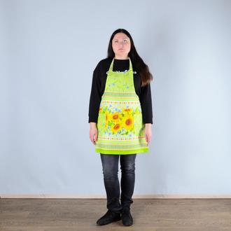 Фартук кухонный, поварской, цветочный принт - подсолнухи.
