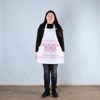 Фартук кухонный, поварской, принт - украинский народный узор.