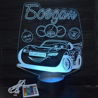 """3D ночник в детскую с метрикой, LED светильник, ночник """"Тачки"""" Молния Маккуин (16 цветов) с пультом"""
