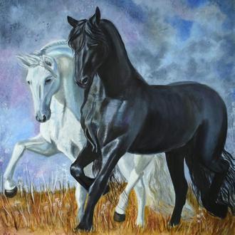 Пара коней Інь-Ян картина, олія 50х60