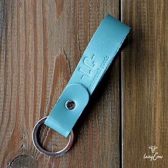 Брелок для ключей из натуральной кожи цвета мята