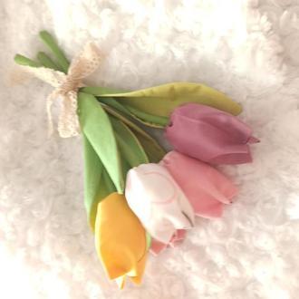 Тюльпаны к 8 марта, весенний букет из ткани
