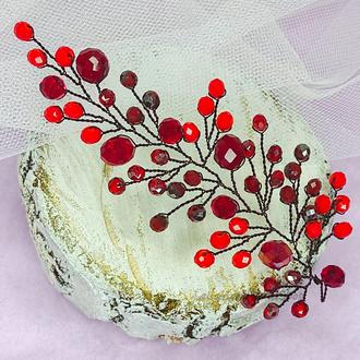 Праздничная красная веточка (лоза) для волос