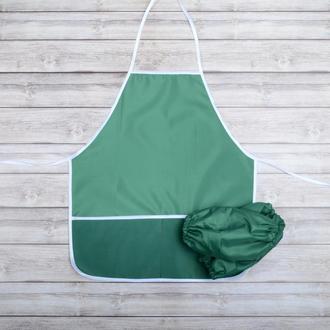 Фартук с нарукавниками детский - для трудов, рисования, кухни, цвет - зеленый