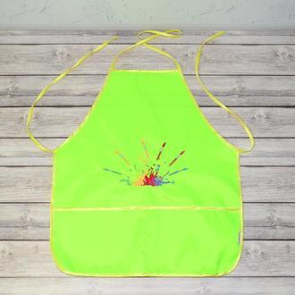 Фартук с нарукавниками детский - для трудов, рисования, кухни, с вышивкой - кисти и краски, цвет - л