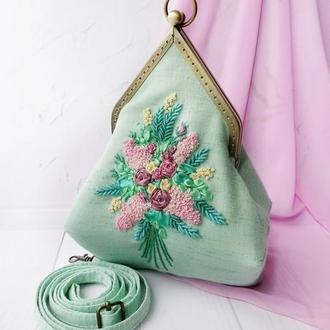 М'ятна сумка з вишивкою Літня сумка Клатч