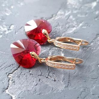 Позолоченные серьги с кристаллами Swarovski сердце Scarlet