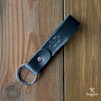 Брелок для ключей из натуральной кожи черного цвета
