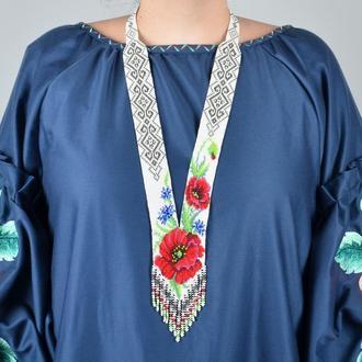 """Женский гердан, оригинальное украшение из бисера, ручная работа, """"Мак и васильки""""."""