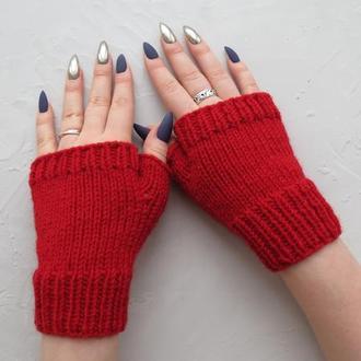 Митенки весенние вязаные красные В НАЛИЧИИ, весенние перчатки без пальцев женские