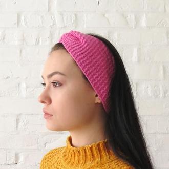 Повязка для волос вязаная весенняя розовая В НАЛИЧИИ чалма, тюрбан