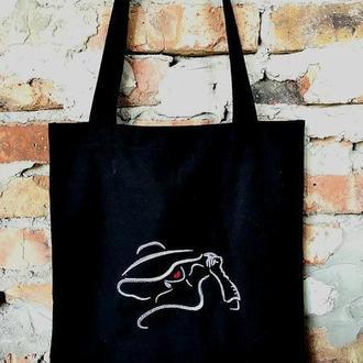 Эко сумка, шоппер с вышивкой.
