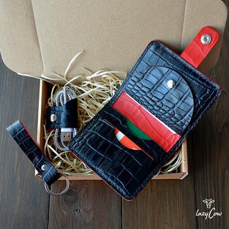 Мужской кошелек с отделением для монет из натуральной кожи под аллигатора