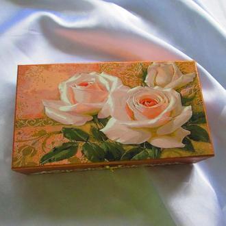 Шкатулка, купюрница «Белые розы», подарок женщине, маме,жене