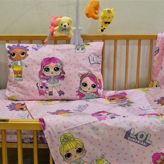 """Комплект в детскую кроватку из турецкого ранфорса """"Куклы Лол на розовом"""" - 100 %хлопок"""