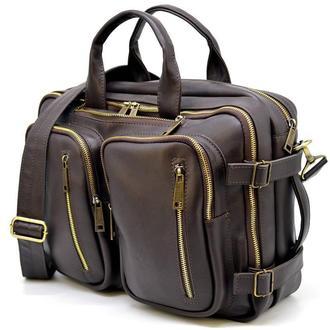 Сумка-трансформер TARWA 7014 из натуральной кожи - сумка-рюкзак, сумка-мессенджер, два отделения