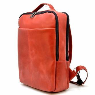 Девочковый яркий стильный рюкзак TARWA 7280 в красной полуматовой коже