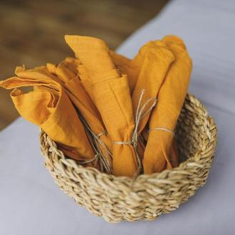 Горчичная льняная салфетка Текстильная салфетка для сервировки стола Тканевые кухонные салфетки