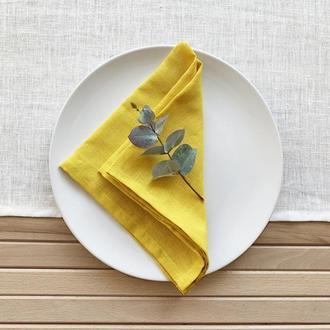 Желтая льняная салфетка Текстильная салфетка для сервировки стола Тканевые кухонные салфетки