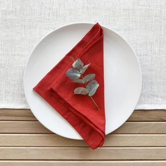 Красные льняная салфетка Текстильная салфетка для сервировки стола Тканевые кухонные салфетки