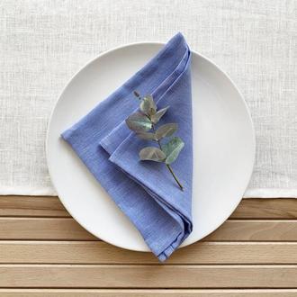 Голубая льняная салфетка Текстильная салфетка для сервировки стола Тканевые кухонные салфетки