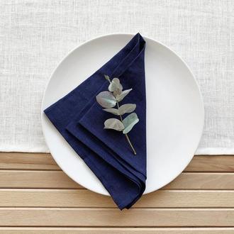 Темно синяя льняная салфетка Текстильная салфетка Свадебные салфетки из ткани Для сервировки стола