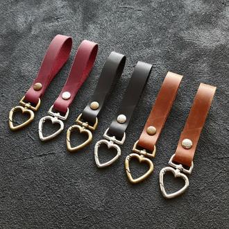 Брелок для ключей из натуральной кожи, кожаный аксессуар, брелки с карабином