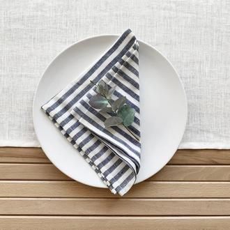 Льняная салфетка в синюю полоску Текстильные салфетка Сервировки стола Тканевые кухонные салфетки
