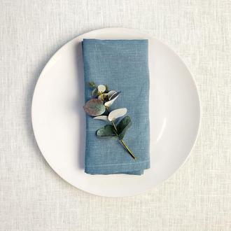 Пыльно голубая льняная салфетка Свадебные салфетки Сервировка стола Сервировочные текстильные