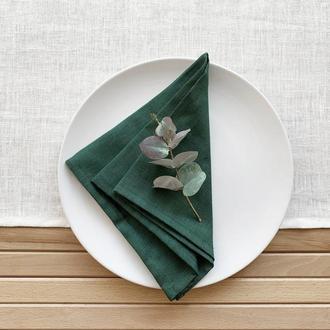 Темно зеленая льняная салфетка Текстильная салфетка Сервировка стола Тканевые свадебные салфетк