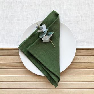 Зеленая льняная салфетка Текстильная салфетка Сервировка стола Тканевые свадебные салфетк
