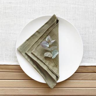 Оливковая льняная салфетка Текстильная салфетка для сервировки стола Тканевые кухонные салфетки
