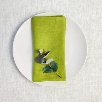 Салатовая льняная салфетка Текстильная салфетка для сервировки стола Тканевые кухонные салфетки