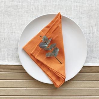 Оранжевая льняная салфетка Текстильная салфетка Сервировка стола Тканевые свадебные салфетк