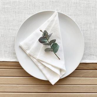 Белая льняная салфетка Текстильная салфетка Сервировка стола Тканевые свадебные салфетк