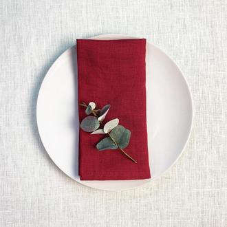 Вишневая льняная салфетка Текстильная салфетка для сервировки стола Тканевые кухонные салфетки