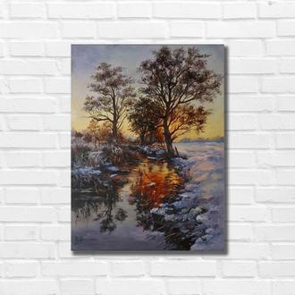 "Картина маслом ""Зимний вечер"" 40х30 см, холст на подрамнике, масло"