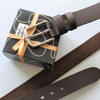 Мужской кожаный ремень темно-коричневый