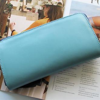 Женский кошелек из натуральной кожи голубой