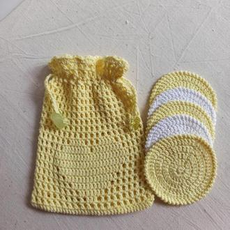 Набор для умывания вязаные эко диски для демакияжа, мешочек для хранения хлопковый