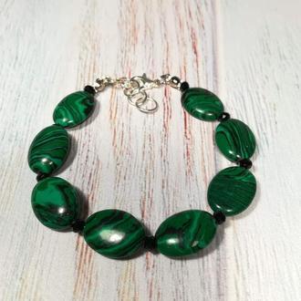 Браслет зеленый из Малахита прес. \ Sb - 0168