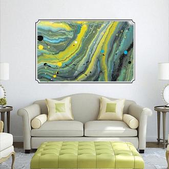 """Интерьерная картина акрилом """"Зелёные волны"""""""