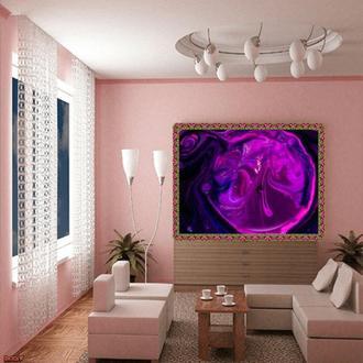 """Интерьерная картина акрилом """"Фиолетовый шар"""""""